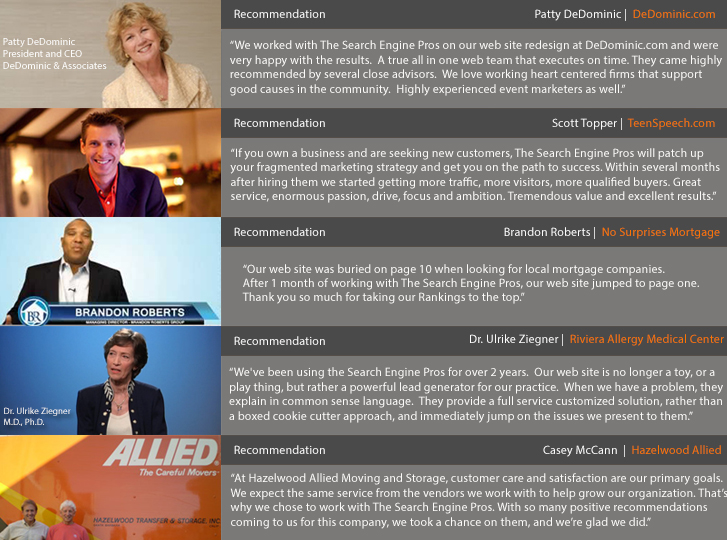Santa Barbara Web Marketing Team Testimonials